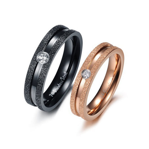 CZ Diamond Crystal Drill Promise Rings Couple Lovers Rings