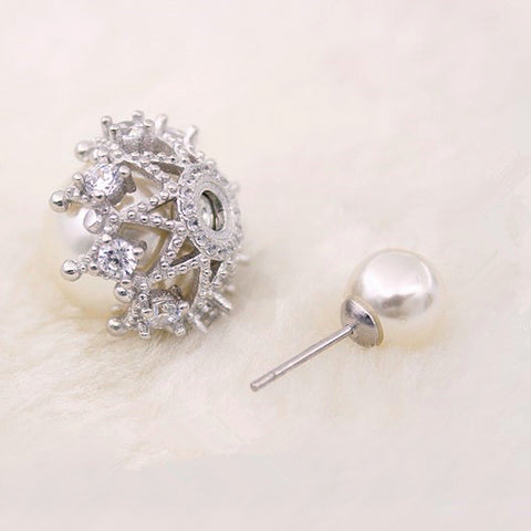 Creative Pearl Silver Stud Earrings