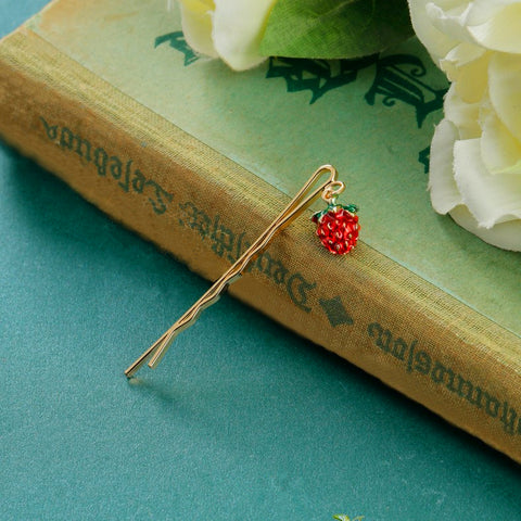 Wood Strawberry Silver Hairpin