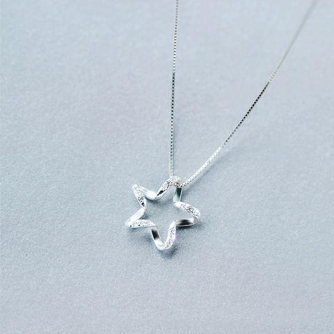 Five-Pointed Star Shaped Silver Necklace