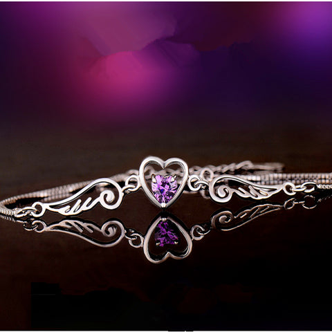 Angel Wings And Heart Silver Bracelet