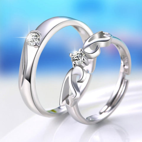 Angel Love Sterling Silver Couple Rings