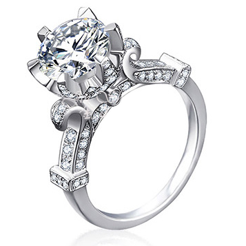 Cinderella Pumpkin Carriage Fairy Tale Love 3 Carat Created Diamond Engagement Wedding Ring