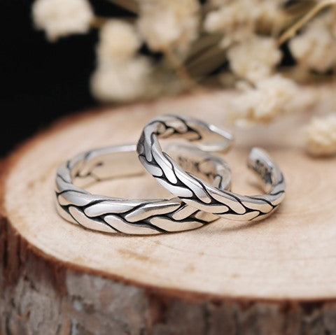 Twisted Shaped High Fashion Silver Couple Rings