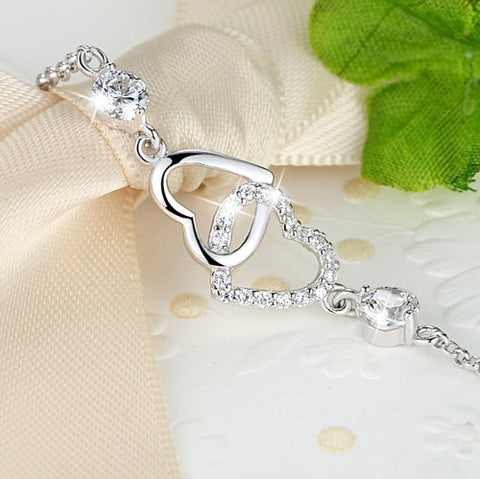 Heart Accompany Silver Bracelet