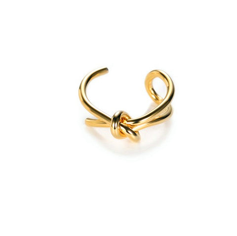 Ribbon Knot  Gold Plated Silver Ring