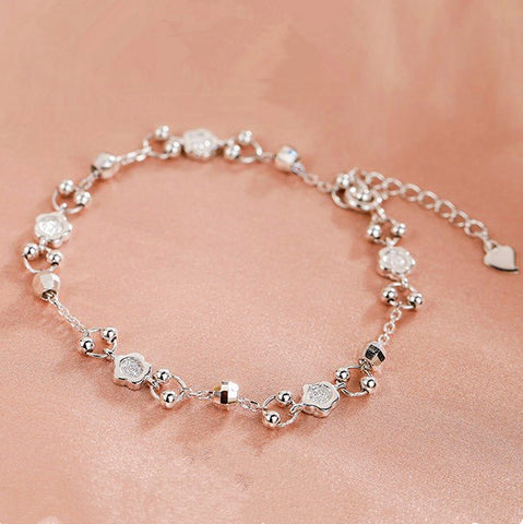 Five-Petaled Flowers Silver Bracelet