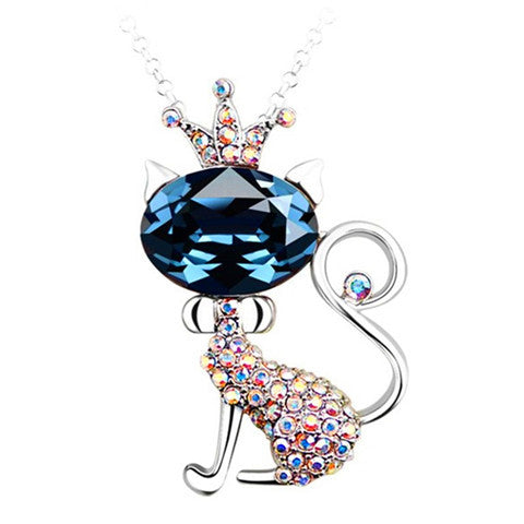 Crown Cat Blue Crystal Silver Pendant Necklace