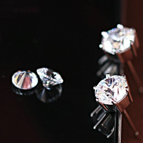 High Fashion Round Cut Zircon Silver Earrings