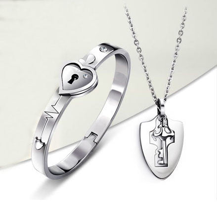 Titanium Key Necklace And Lock Bracelet Couple Bracelets Set
