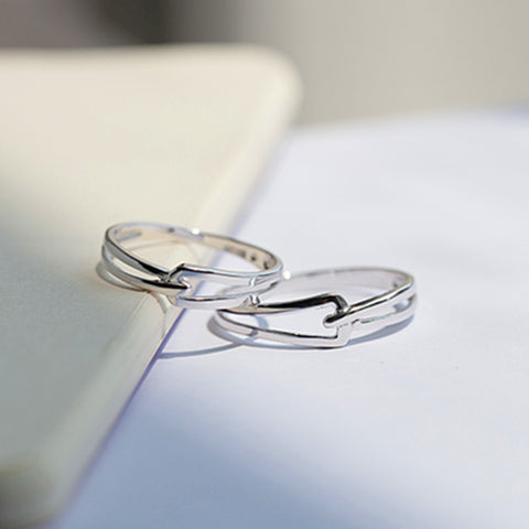 High Fashion Rotate Clasp Silver Couple Rings