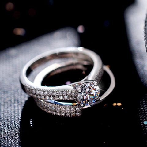 Classic Fully-Jewelled Silver Engagement Rings