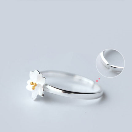 Sweet Cherry Blossom Open Silver Ring