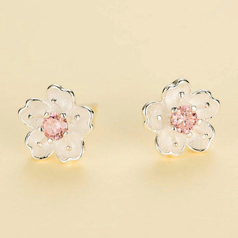 Oriental Cherry Silver Stud Earrings