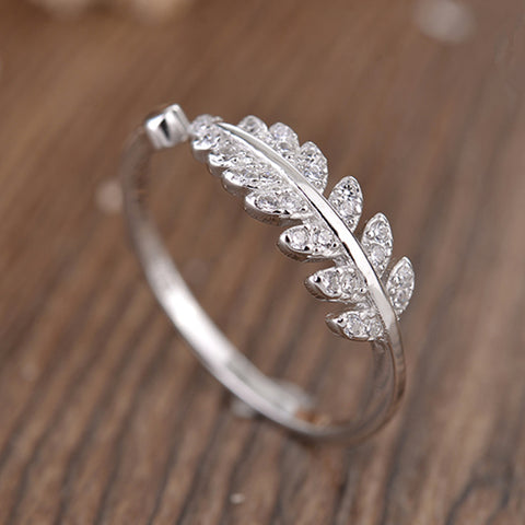 Olive Leaf Silver Couple Rings