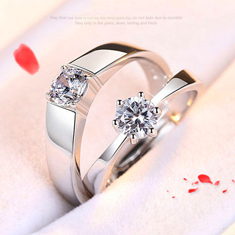 Adjustable Open Pave Setting Zircon 925 Silver Lover Ring