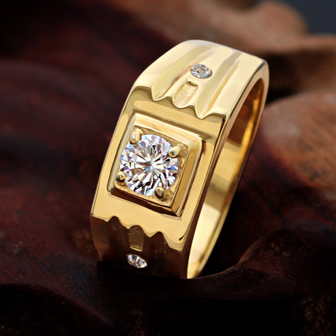Gold Plated Zircon Silver Male Rings