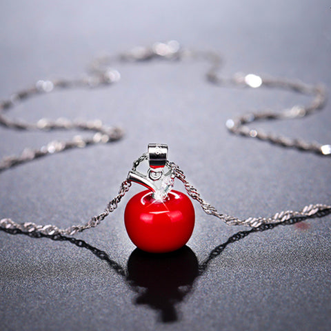 Red Apple Shaped Silver Necklace