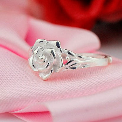 c9a61a50c44e Rose Flower Silver Couple Rings – EverMarker