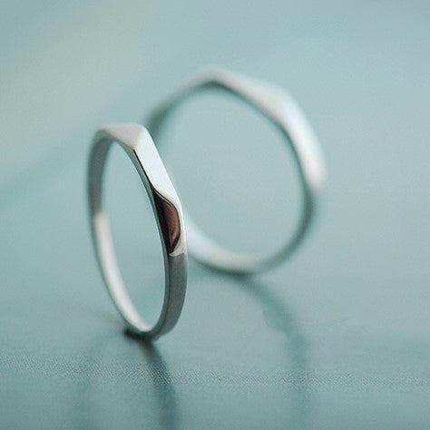 Simple Tangent Plane Silver Couple Rings
