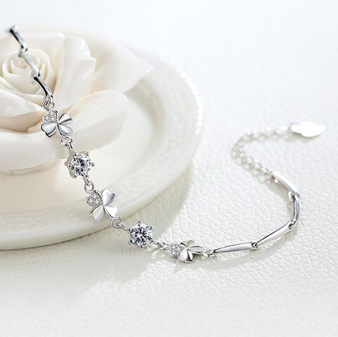Fashion Design Clover Zircon Silver Bracelet