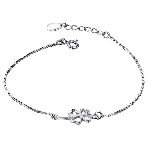 Four Leaves Clover Silver Bracelet