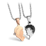 Face Heart Lock Matching Couple Necklaces
