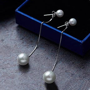Long Tassel Pearl Silver Drop Earrings
