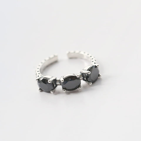 All-Match Black Stone Silver Ring