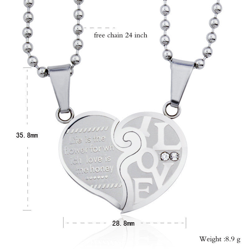 Heart In Heart Titanium Steel Lovers Necklaces