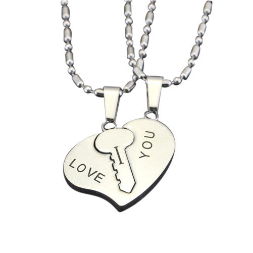 Silver key to heart i love you couple necklaces evermarker silver key to heart i love you couple necklaces mozeypictures Images
