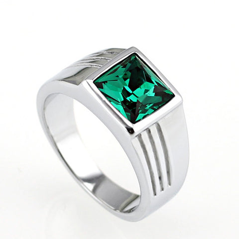 Bezel Setting Zircon Titanium Men Ring