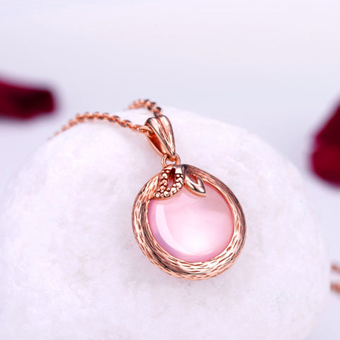 Ross Quartz Rose Gold Plated Necklace