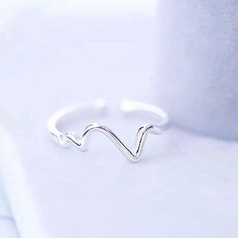 Heart Beat Wave Silver Ring