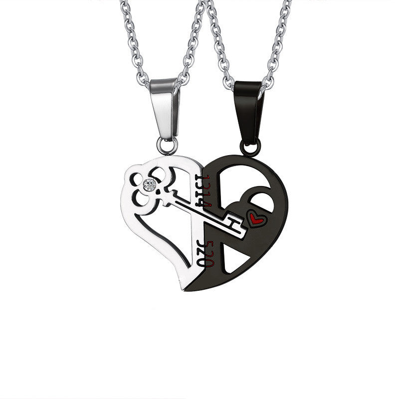 Evermarker Key And Lock Heart Couple Necklaces Titanium