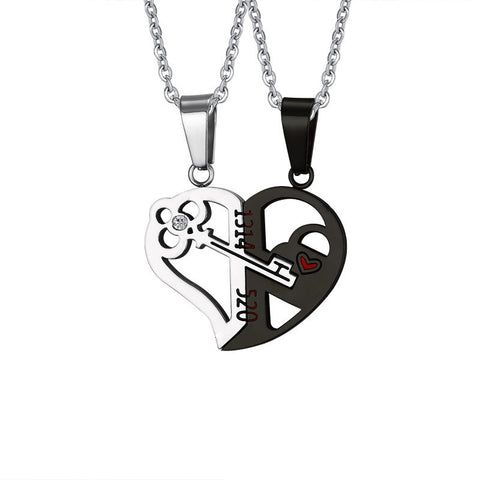 Key And Lock Matching Heart Lover's Couple Necklaces