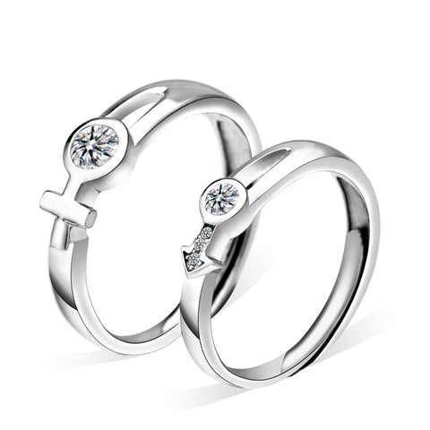 925 Silver With Cubic Zirconia Hollow Adjustable Couple Rings