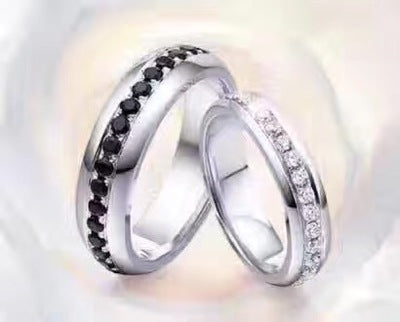 Black And White Zircon Silver Couple Rings