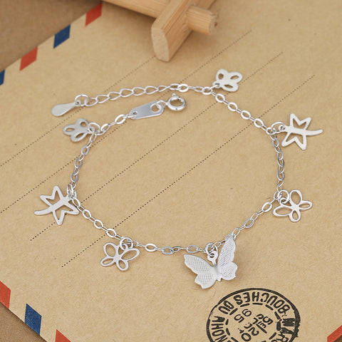 Butterfly Dragonfly Silver Couple Bracelet