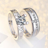 Sterling Silver Eiffel Tower Couple Rings For Wedding