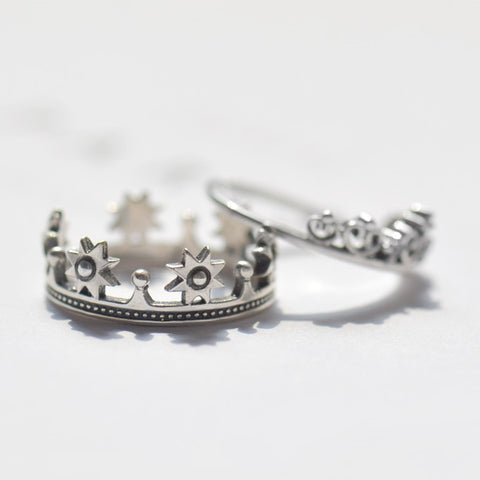 King And Queen Silver Couple Rings
