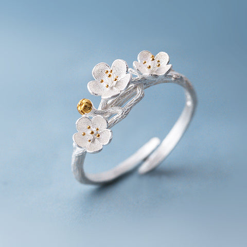 Simple Fashion Sakura Silver Ring