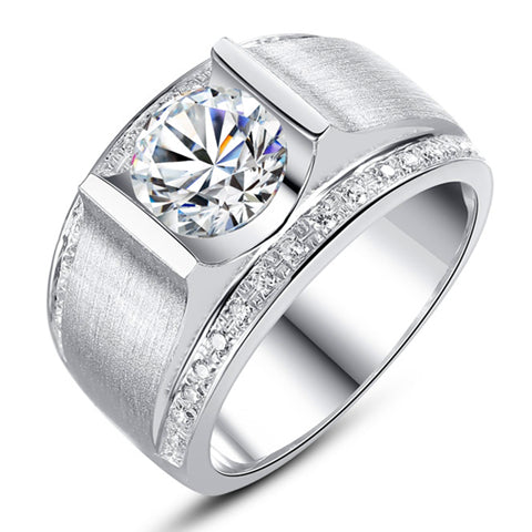2 Carat Prong Set Silver Couple Rings