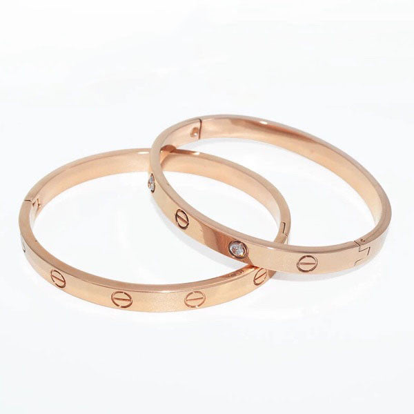 Couple Bangles Bracelets Daily Stylish Rivets Stainless Steel Gold