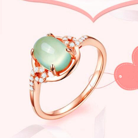 Prehnite Rose Gold Plated Silver Ring