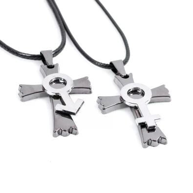 Pair of Couple Cross Pendant Necklace