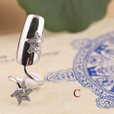 Retro Flower Fingernail Ring 925 Sterling Silver Nail Ring