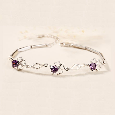 Simple Purple Clover Silver Bracelet