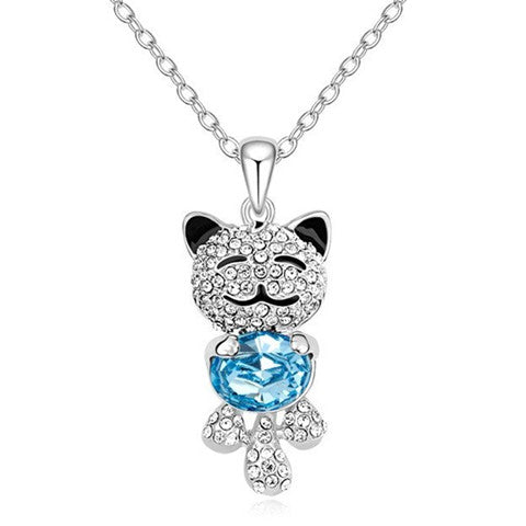 Angel Bear Shaped Blue Crystal Silver Pendant Necklace