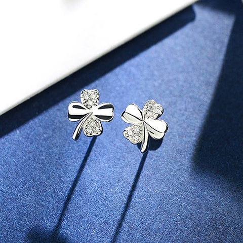 All-Match Clover Silver Stud Earrings